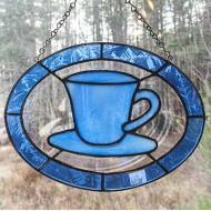 Stained Glass Teacup – Blue Edge