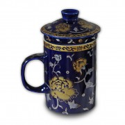 Infuser Tea Mug – Blue & Gold Floral