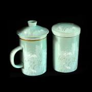 Infuser Tea Mug & Tea Jar Set – Light Green with Snow Cranes