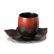 Zen Tea Cup with Lotus Flower Saucer – Red & Black